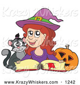 Critter Clipart of a Cute Halloween Witch Reading a Spell Book with a Cat by Visekart