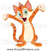 Critter Clipart of a Cute Happy Welcoming Cat Holding His Arms out by Yayayoyo
