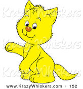 Critter Clipart of a Cute Happy Yellow Kitty Cat Sitting up on Its Hind Legs, Raising One Paw by Alex Bannykh