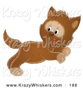 Critter Clipart of a Cute Jumping Brown Kitten Jumping and Looking Back by Alex Bannykh