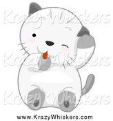 Critter Clipart of a Cute Kitten Grooming by BNP Design Studio