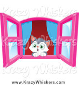 Critter Clipart of a Cute Kitten in Awe, Looking out a Window by Yayayoyo