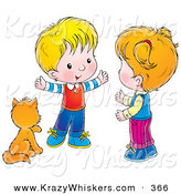 Critter Clipart of a Cute Kitty Cat Seated by a Little Boy Talking to a Girl by Alex Bannykh