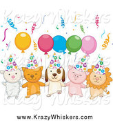 Critter Clipart of a Cute Lamb, Kitten, Puppy, Piglet and Lion with Birthday Party Balloons and Confetti by BNP Design Studio