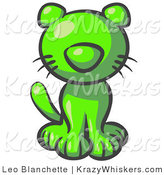 Critter Clipart of a Cute Lime Green Kitten Sitting and Looking Curiously at the Viewer by Leo Blanchette