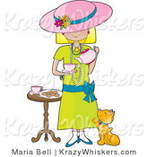 Critter Clipart of a Cute Little Blond Caucasian Girl Dressed in Her Mother's Clothes and Pouring a Pot of Tea into a Cup While a Marmalade Cat Looks up at Her, Waiting for a Treat by Maria Bell