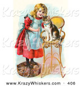 Critter Clipart of a Cute Little Blond Victorian Girl Trying to Train Her Cat to Listen to Her Commands, Teaching Kitty to Sit on a Stool by OldPixels