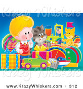Critter Clipart of a Cute Little Blond White Boy, a Cat and Fox Admiring a Large Group of Birthday Presents by Alex Bannykh