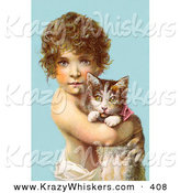 Critter Clipart of a Cute Little Curly Haired Victorian Child Holding a Kitten in Their Arms, over a Blue Background by OldPixels