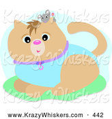 Critter Clipart of a Cute Little Gray Mouse Holding a Flower, Peeking over a Cat Wearing a Blue Suit by Bpearth