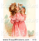 Critter Clipart of a Cute Little Victorian Girl in a Pink Dress, Holding up and Kissing Her Cute Kitten on the Cheek by OldPixels
