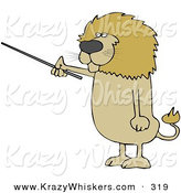 Critter Clipart of a Cute Male Lion Holding a Pointer Stick and Standing up on His Hind Legs by Djart