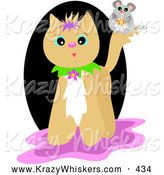 Critter Clipart of a Cute Mouse on a Beige Cat, on White by Bpearth