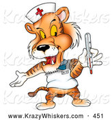 Critter Clipart of a Cute Nurse Tiger Holding a Thermometer by Dero