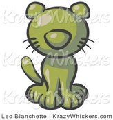 Critter Clipart of a Cute Olive Green Kitten Looking Curiously at the Viewer by Leo Blanchette