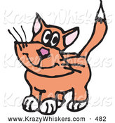 October 9th, 2013: Critter Clipart of a Cute or Innocent Orange Cat with White Paws by Dennis Holmes Designs