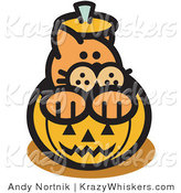 Critter Clipart of a Cute Orange Cat Inside a Halloween Pumpkin by Andy Nortnik