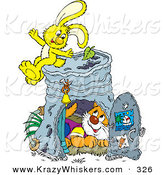 Critter Clipart of a Cute Orange Cat Inside a Pail Club House, a Yellow Bunny Sitting on Top by Alex Bannykh