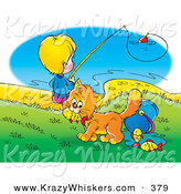 Critter Clipart of a Cute Orange Cat Stealing Fish from a Bucket While a Boy Fishes in the Background by Alex Bannykh