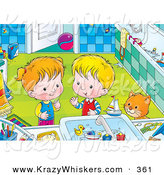 Critter Clipart of a Cute Orange Cat Watching a Boy and Girl Playing with Toys in a Bathroom Sink by Alex Bannykh