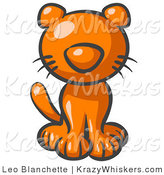 Critter Clipart of a Cute Orange Kitten Looking Curiously at the Viewer by Leo Blanchette
