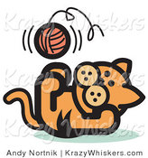 Critter Clipart of a Cute Orange Kitten Lying on His Back and Throwing a Ball of Yarn up in the Air While Playing by Andy Nortnik