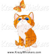 Critter Clipart of a Cute Orange Kitten Watching a Butterfly by Pushkin
