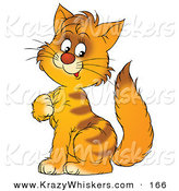 Critter Clipart of a Cute Orange Striped Kitten Sitting and Scratching His Chest by Alex Bannykh