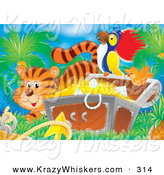 Critter Clipart of a Cute Orange Tiger by a Bird Flying by a Parrot Perched on a Treasure Chest Full of Gold and Diamonds by Alex Bannykh