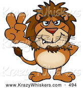 Critter Clipart of a Cute Peaceful Lion Smiling and Gesturing the Peace Sign by Dennis Holmes Designs