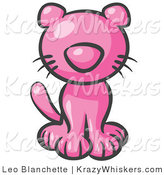 Critter Clipart of a Cute Pink Kitten Looking Curiously at the Viewer by Leo Blanchette