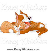 Critter Clipart of a Cute Puppy and Kitten Taking a Nap Together by Pushkin