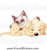 Critter Clipart of a Cute Puppy Dog Sleeping with a Siamese Kitten on His Back by Pushkin