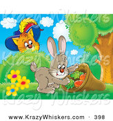Critter Clipart of a Cute Puss in Boots, the Cat, Watching a Easter Rabbit Stuff Carrots in a Sack by Alex Bannykh