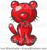 Critter Clipart of a Cute Red Kitten Looking Curiously at the Viewer by Leo Blanchette