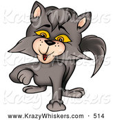 Critter Clipart of a Cute Smokey Gray Cat Walking Forward by Dero