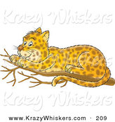 Critter Clipart of a Cute Spotted Leopard Cub Resting on a Tree Branch by Alex Bannykh