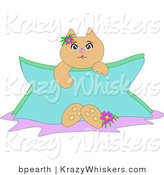 Critter Clipart of a Cute Tan Kitty Cat Holding a Blank Blue Sign, a Flower at Its Feet and by Its Ear by