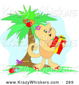 Critter Clipart of a Cute Tan Kitty Cat Holding a Candy Cane and Christmas Gift Under a Palm Tree by