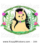 Critter Clipart of a Cute Tan Kitty Cat Wearing a Floral Collar, Inside a Bamboo Frame with Flowers by