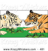 Critter Clipart of a Cute Tiger Pair Gazing at Each Other While Laying in Grass by Dennis Holmes Designs