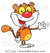 Critter Clipart of a Cute Tiger Wearing a Red Bow Tie and Waving Hello by Hit Toon