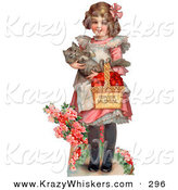 September 25th, 2012: Critter Clipart of a Cute Vintage Valentine of a Sweet Little Girl Carrying a Basket of Red Hearts and a Cat in Her Arms, Walking in a Flower Garden, Circa 1885 by OldPixels