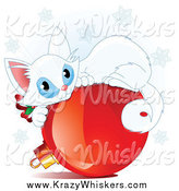 Critter Clipart of a Cute White Christmas Kitten Curled up on a Red Ornament by Pushkin