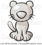 Critter Clipart of a Cute White Kitten Looking Curiously at the Viewer by Leo Blanchette
