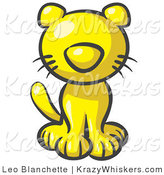 Critter Clipart of a Cute Yellow Kitten Looking Curiously at the Viewer by Leo Blanchette