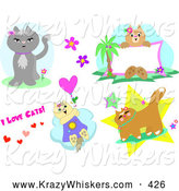 Critter Clipart of a Design Set of Cat Poses and Text, on a White Background by