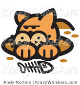 Critter Clipart of a Dirty Orange Cat in a Muddy Hole After Digging out a Fish Bone by Andy Nortnik