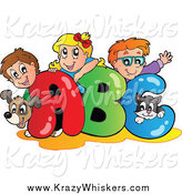 Critter Clipart of a Dog Cat and Children on ABC by Visekart