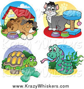 June 20th, 2014: Critter Clipart of a Dog, Cat, Tortoise and Snake by Visekart